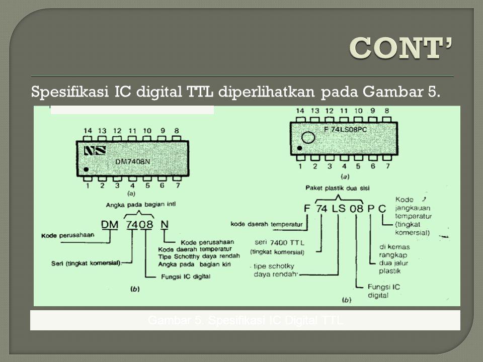 Spesifikasi IC digital TTL diperlihatkan pada Gambar 5. Gambar 5. Spesifikasi IC Digital TTL