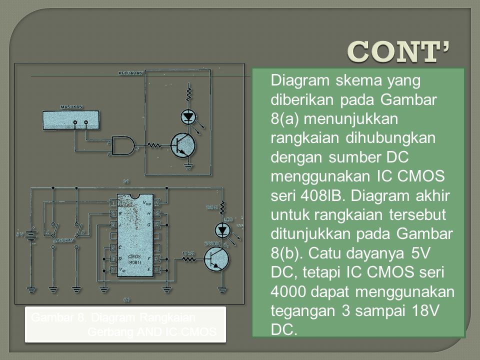 Diagram skema yang diberikan pada Gambar 8(a) menunjukkan rangkaian dihubungkan dengan sumber DC menggunakan IC CMOS seri 408lB. Diagram akhir untuk r