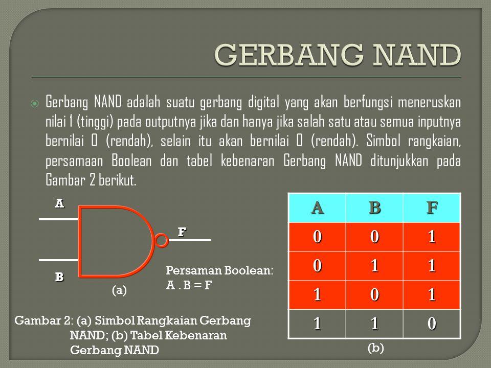  Gerbang NAND adalah suatu gerbang digital yang akan berfungsi meneruskan nilai 1 (tinggi) pada outputnya jika dan hanya jika salah satu atau semua i