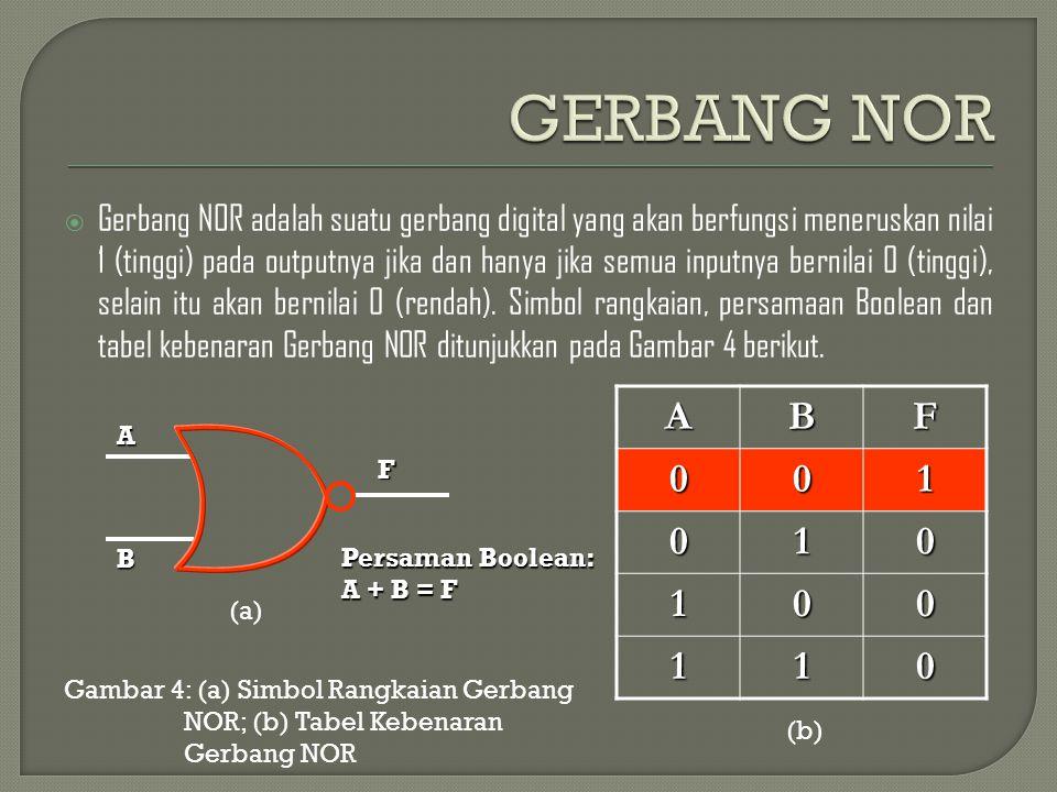  Gerbang NOR adalah suatu gerbang digital yang akan berfungsi meneruskan nilai 1 (tinggi) pada outputnya jika dan hanya jika semua inputnya bernilai