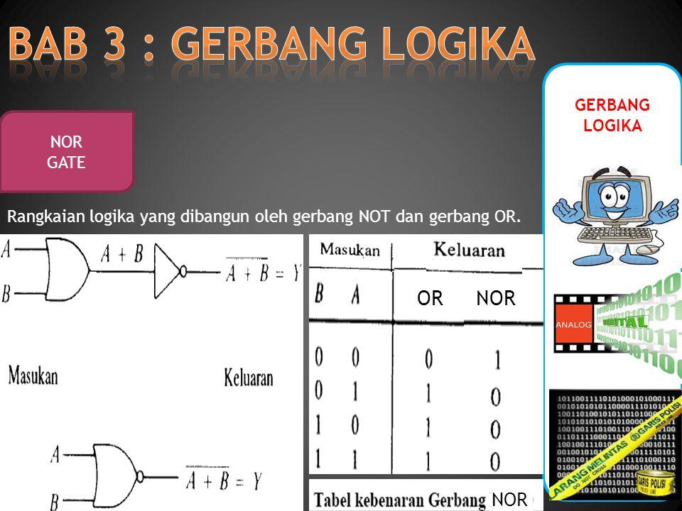 GERBANG LOGIKA NOR GATE Rangkaian logika yang dibangun oleh gerbang NOT dan gerbang OR. ORNOR