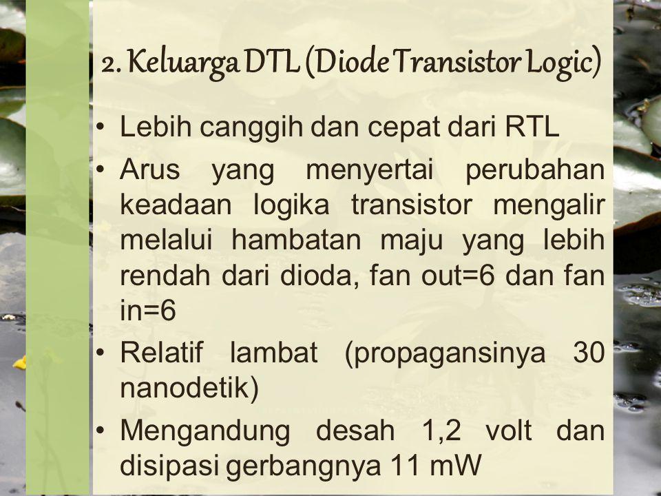 2. Keluarga DTL (Diode Transistor Logic) Lebih canggih dan cepat dari RTL Arus yang menyertai perubahan keadaan logika transistor mengalir melalui ham