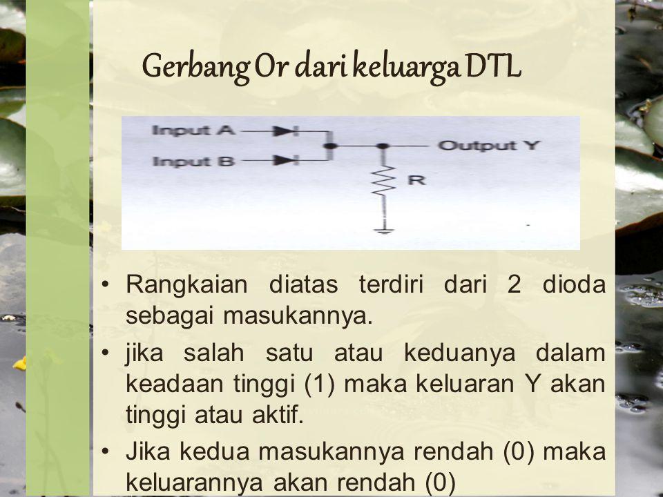 Gerbang Or dari keluarga DTL Rangkaian diatas terdiri dari 2 dioda sebagai masukannya.