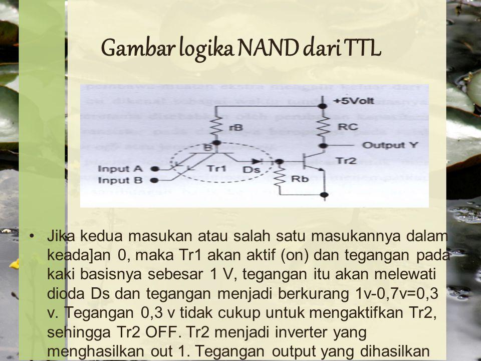 Gambar logika NAND dari TTL Jika kedua masukan atau salah satu masukannya dalam keada]an 0, maka Tr1 akan aktif (on) dan tegangan pada kaki basisnya sebesar 1 V, tegangan itu akan melewati dioda Ds dan tegangan menjadi berkurang 1v-0,7v=0,3 v.