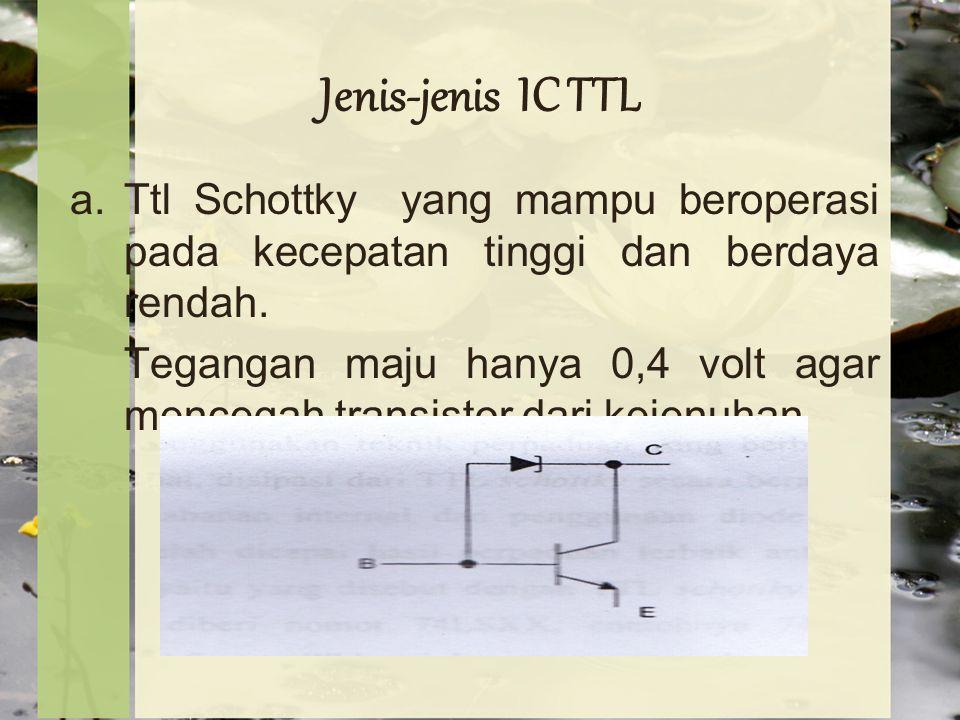 Jenis-jenis IC TTL a.Ttl Schottky yang mampu beroperasi pada kecepatan tinggi dan berdaya rendah.