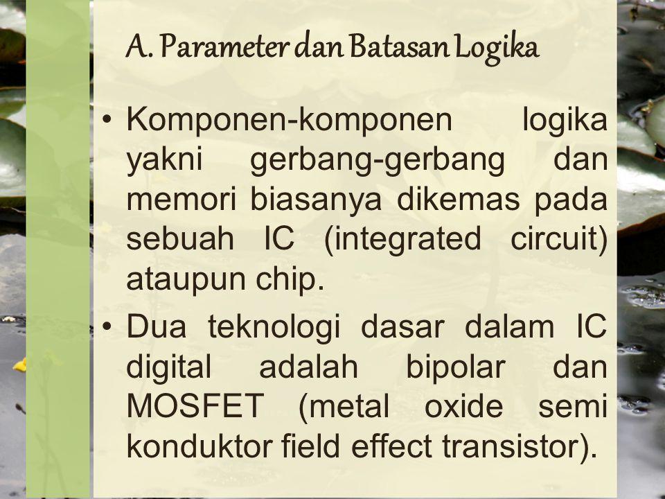 A. Parameter dan Batasan Logika Komponen-komponen logika yakni gerbang-gerbang dan memori biasanya dikemas pada sebuah IC (integrated circuit) ataupun