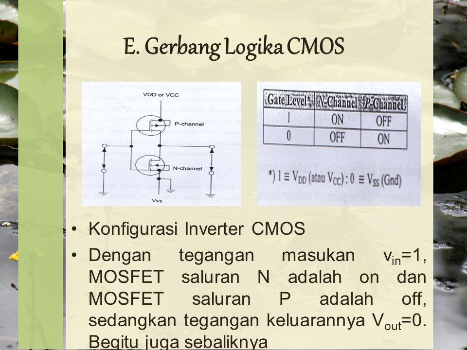 E. Gerbang Logika CMOS Konfigurasi Inverter CMOS Dengan tegangan masukan v in =1, MOSFET saluran N adalah on dan MOSFET saluran P adalah off, sedangka