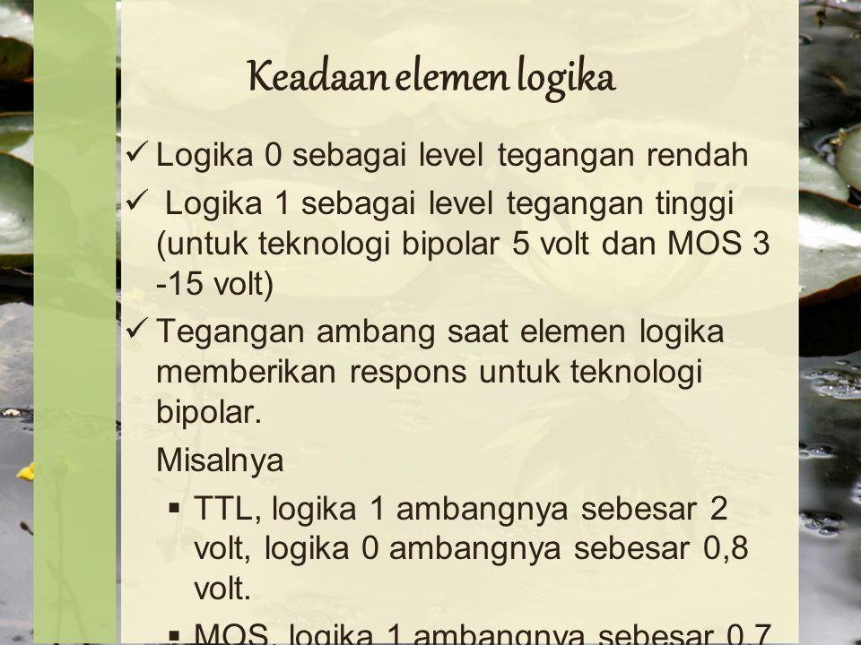Keadaan elemen logika Logika 0 sebagai level tegangan rendah Logika 1 sebagai level tegangan tinggi (untuk teknologi bipolar 5 volt dan MOS 3 -15 volt) Tegangan ambang saat elemen logika memberikan respons untuk teknologi bipolar.