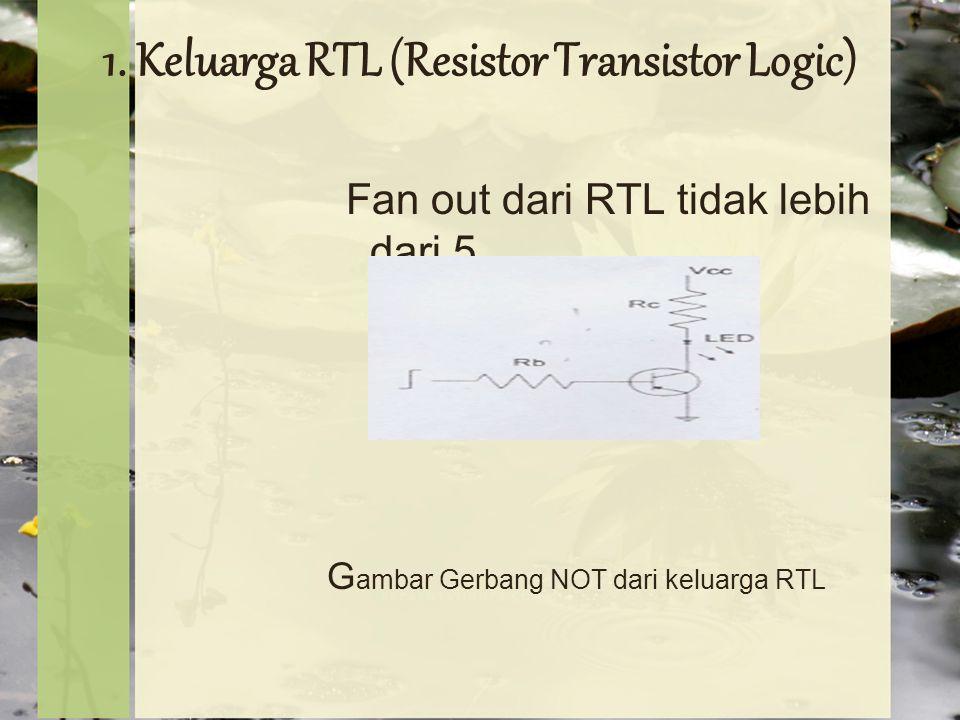 1.Keluarga RTL (Resistor Transistor Logic) Fan out dari RTL tidak lebih dari 5.
