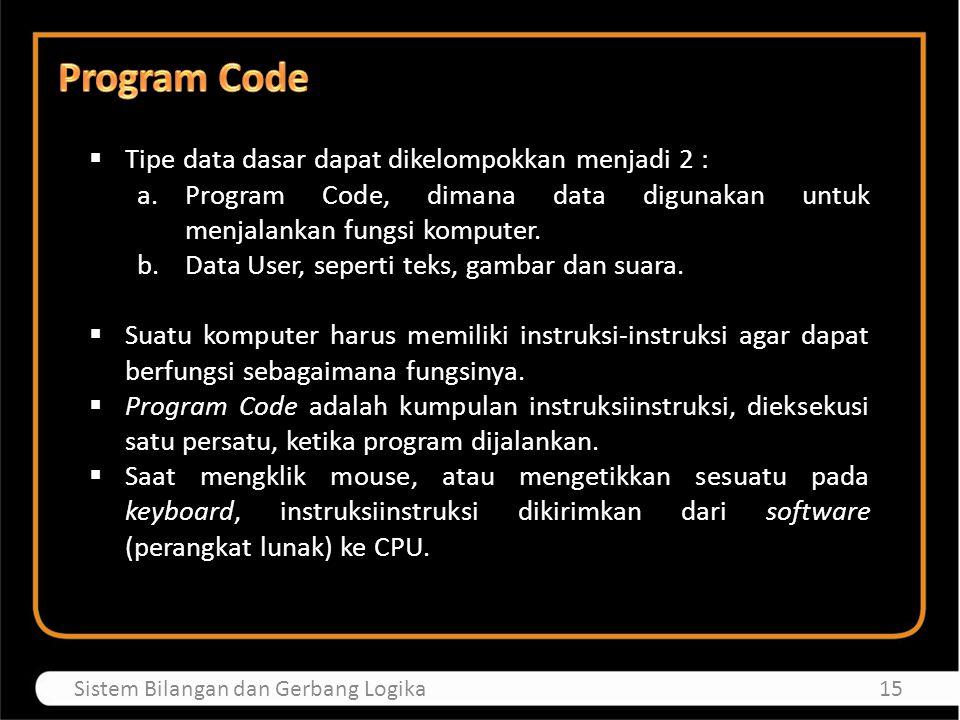  Tipe data dasar dapat dikelompokkan menjadi 2 : a.Program Code, dimana data digunakan untuk menjalankan fungsi komputer. b.Data User, seperti teks,