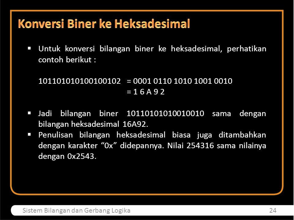  Untuk konversi bilangan biner ke heksadesimal, perhatikan contoh berikut : 101101010100100102 = 0001 0110 1010 1001 0010 = 1 6 A 9 2  Jadi bilangan