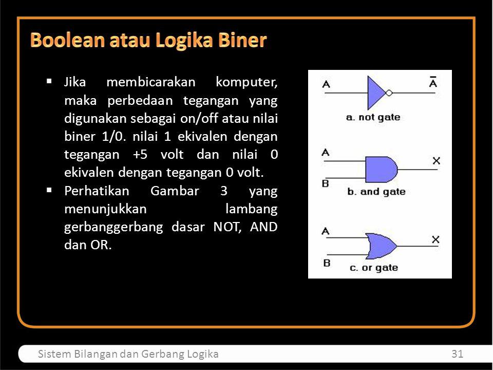 32Sistem Bilangan dan Gerbang Logika  Tabel 14 menunjukkan tabel kebenaran dari logika gerbang- gerbang dasar yang ada.