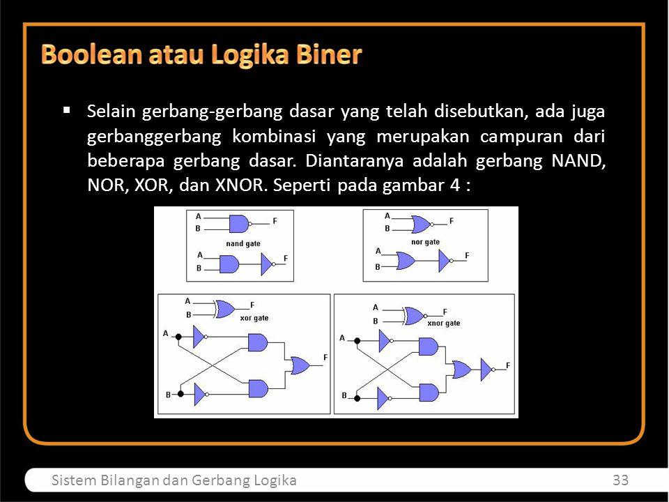 33Sistem Bilangan dan Gerbang Logika  Selain gerbang-gerbang dasar yang telah disebutkan, ada juga gerbanggerbang kombinasi yang merupakan campuran d