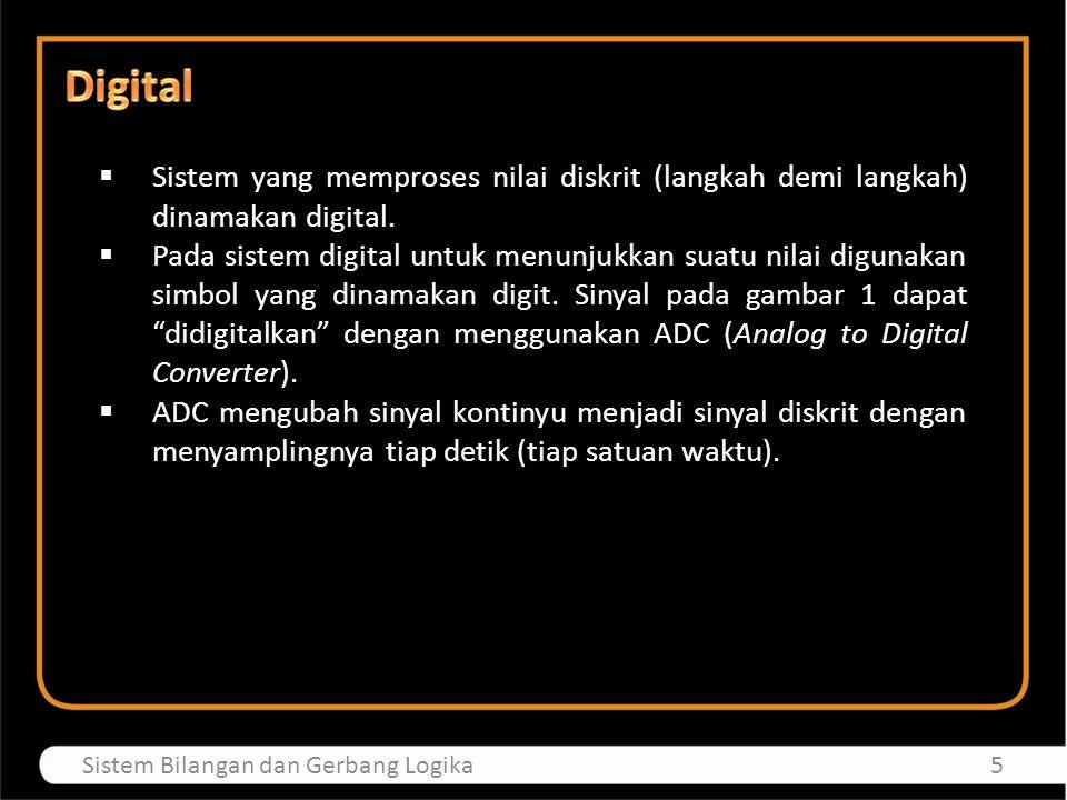  Sistem yang memproses nilai diskrit (langkah demi langkah) dinamakan digital.  Pada sistem digital untuk menunjukkan suatu nilai digunakan simbol y
