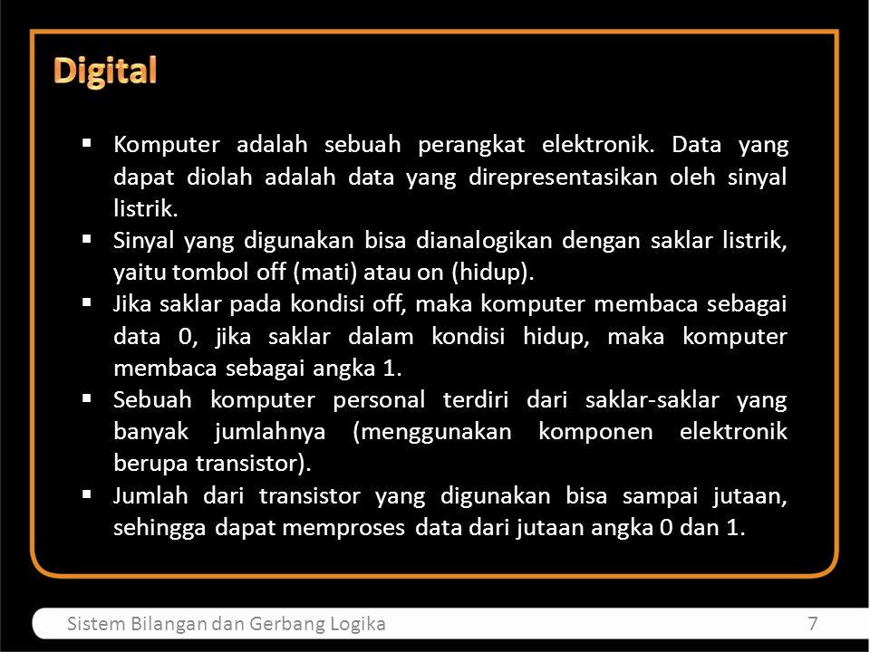  Komputer adalah sebuah perangkat elektronik. Data yang dapat diolah adalah data yang direpresentasikan oleh sinyal listrik.  Sinyal yang digunakan