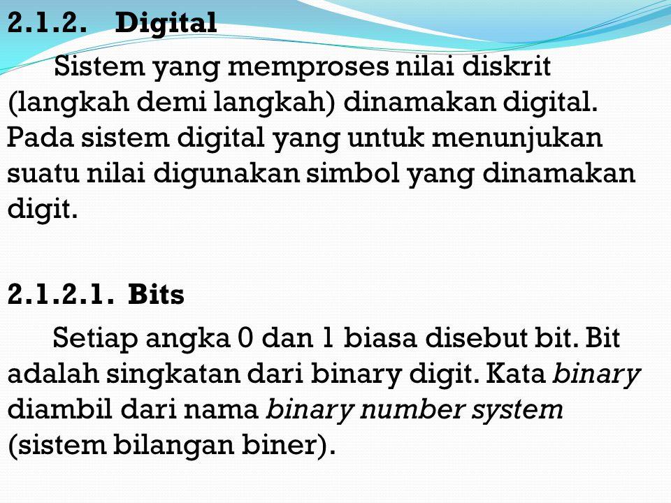 2.1.2.Digital Sistem yang memproses nilai diskrit (langkah demi langkah) dinamakan digital.