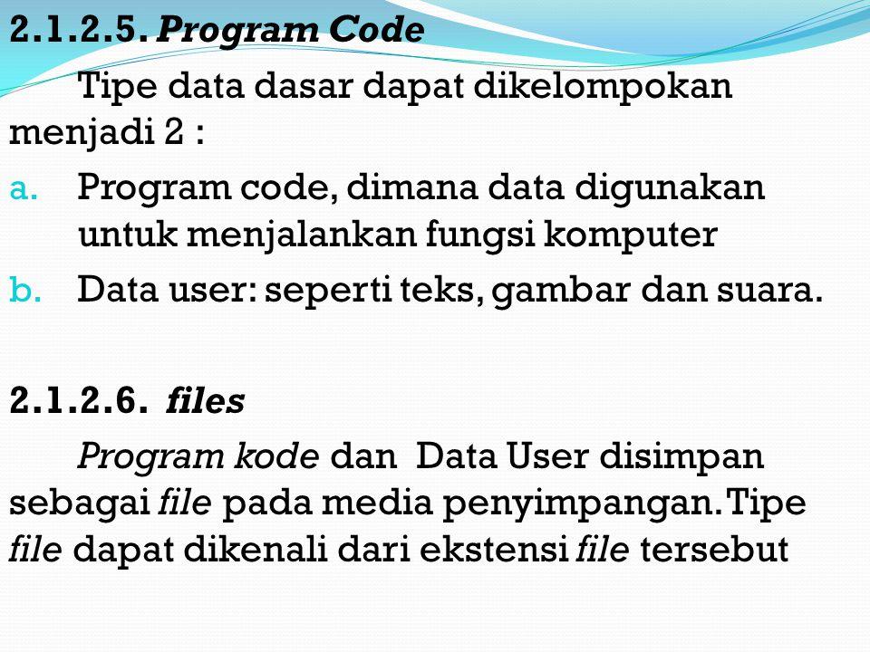 2.1.2.5.Program Code Tipe data dasar dapat dikelompokan menjadi 2 : a.