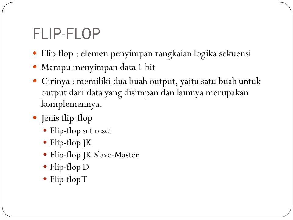 FLIP-FLOP Flip flop : elemen penyimpan rangkaian logika sekuensi Mampu menyimpan data 1 bit Cirinya : memiliki dua buah output, yaitu satu buah untuk
