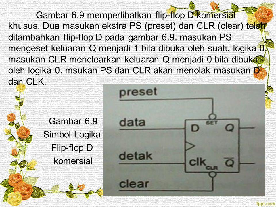Gambar 6.9 memperlihatkan flip-flop D komersial khusus. Dua masukan ekstra PS (preset) dan CLR (clear) telah ditambahkan flip-flop D pada gambar 6.9.
