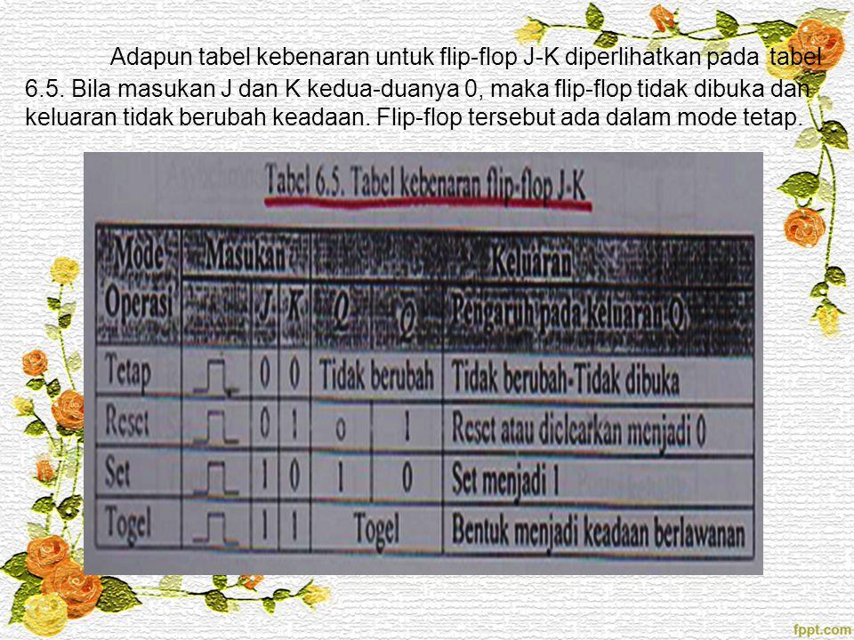 Adapun tabel kebenaran untuk flip-flop J-K diperlihatkan pada tabel 6.5. Bila masukan J dan K kedua-duanya 0, maka flip-flop tidak dibuka dan keluaran