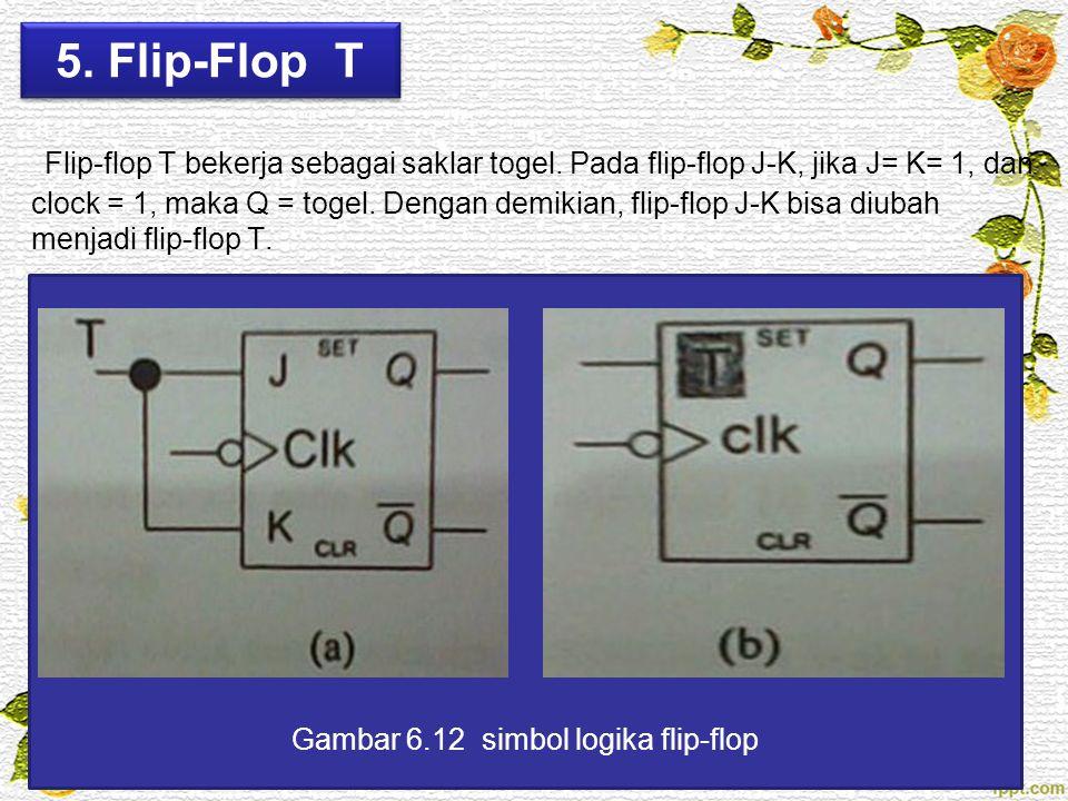 5. Flip-Flop T Flip-flop T bekerja sebagai saklar togel. Pada flip-flop J-K, jika J= K= 1, dan clock = 1, maka Q = togel. Dengan demikian, flip-flop J
