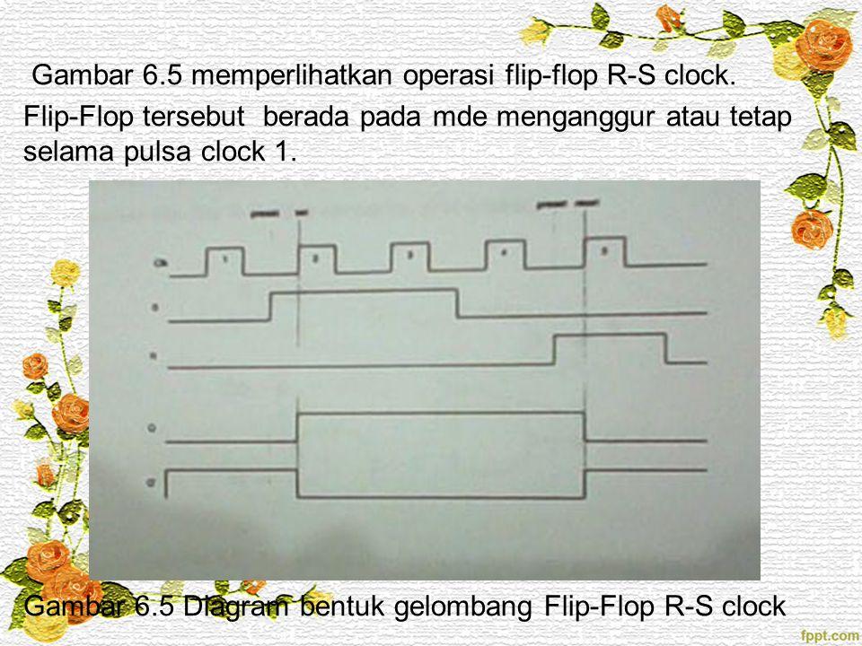 Gambar 6.5 memperlihatkan operasi flip-flop R-S clock. Flip-Flop tersebut berada pada mde menganggur atau tetap selama pulsa clock 1. Gambar 6.5 Diagr