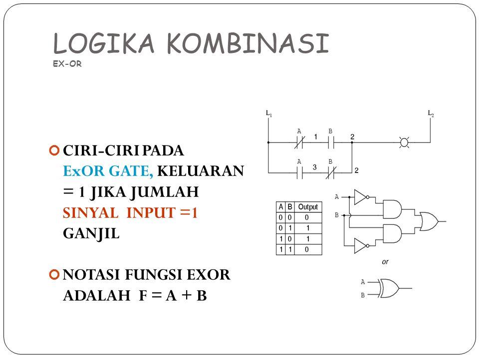 LOGIKA KOMBINASI EX-OR CIRI-CIRI PADA ExOR GATE, KELUARAN = 1 JIKA JUMLAH SINYAL INPUT =1 GANJIL NOTASI FUNGSI EXOR ADALAH F = A + B