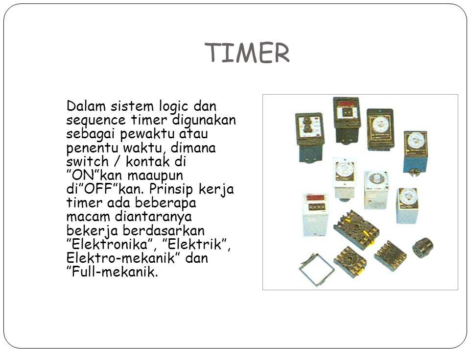"""TIMER Dalam sistem logic dan sequence timer digunakan sebagai pewaktu atau penentu waktu, dimana switch / kontak di """"ON""""kan maaupun di""""OFF""""kan. Prinsi"""
