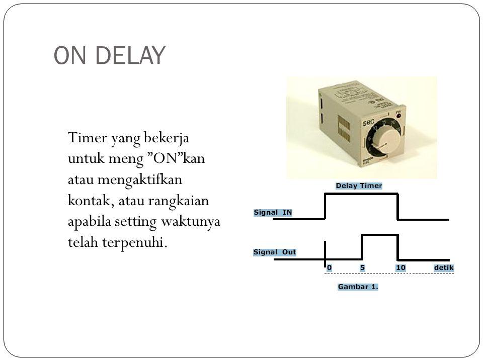 "ON DELAY Timer yang bekerja untuk meng ""ON""kan atau mengaktifkan kontak, atau rangkaian apabila setting waktunya telah terpenuhi."
