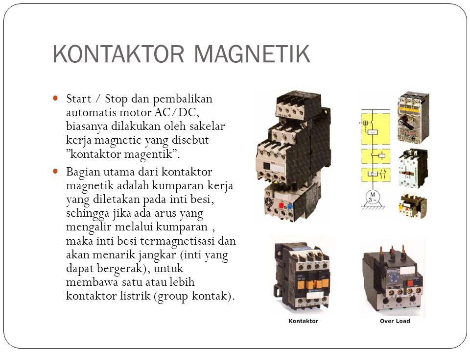 """KONTAKTOR MAGNETIK Start / Stop dan pembalikan automatis motor AC/DC, biasanya dilakukan oleh sakelar kerja magnetic yang disebut """"kontaktor magentik"""""""