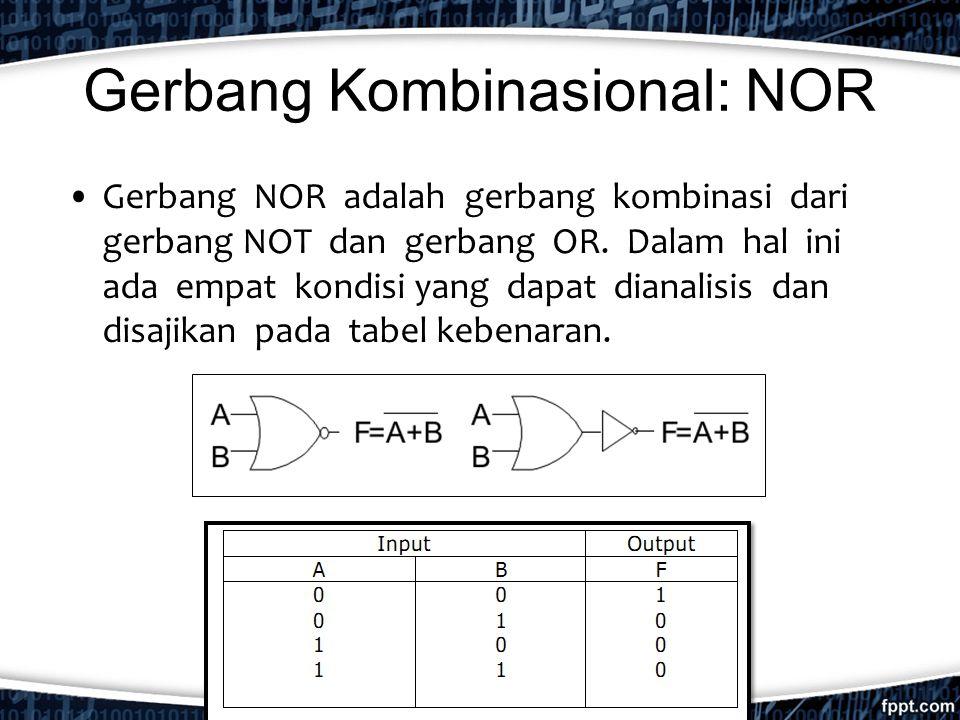 Gerbang Kombinasional: NOR Gerbang NOR adalah gerbang kombinasi dari gerbang NOT dan gerbang OR. Dalam hal ini ada empat kondisi yang dapat dianalisis
