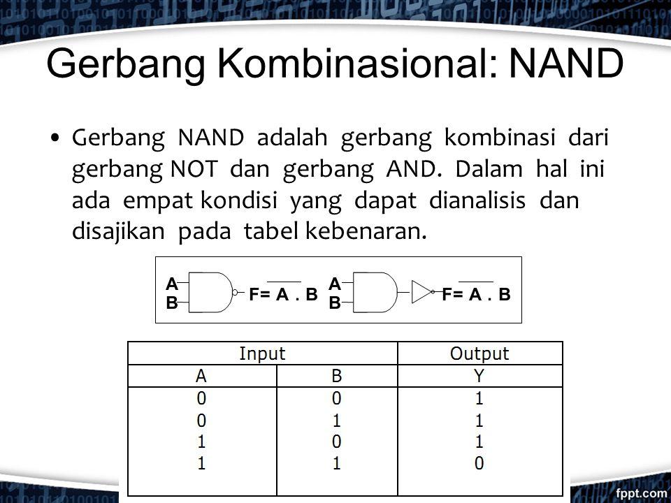 Gerbang Kombinasional: NAND Gerbang NAND adalah gerbang kombinasi dari gerbang NOT dan gerbang AND. Dalam hal ini ada empat kondisi yang dapat dianali
