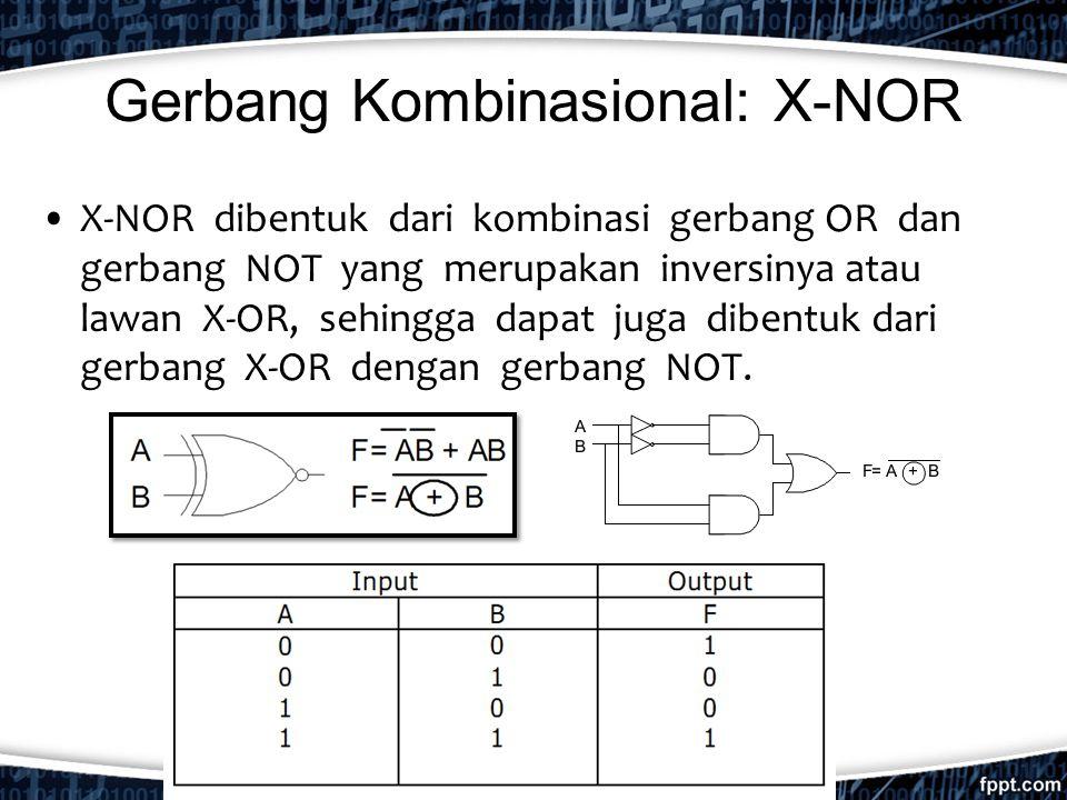 Gerbang Kombinasional: X-NOR X-NOR dibentuk dari kombinasi gerbang OR dan gerbang NOT yang merupakan inversinya atau lawan X-OR, sehingga dapat juga d