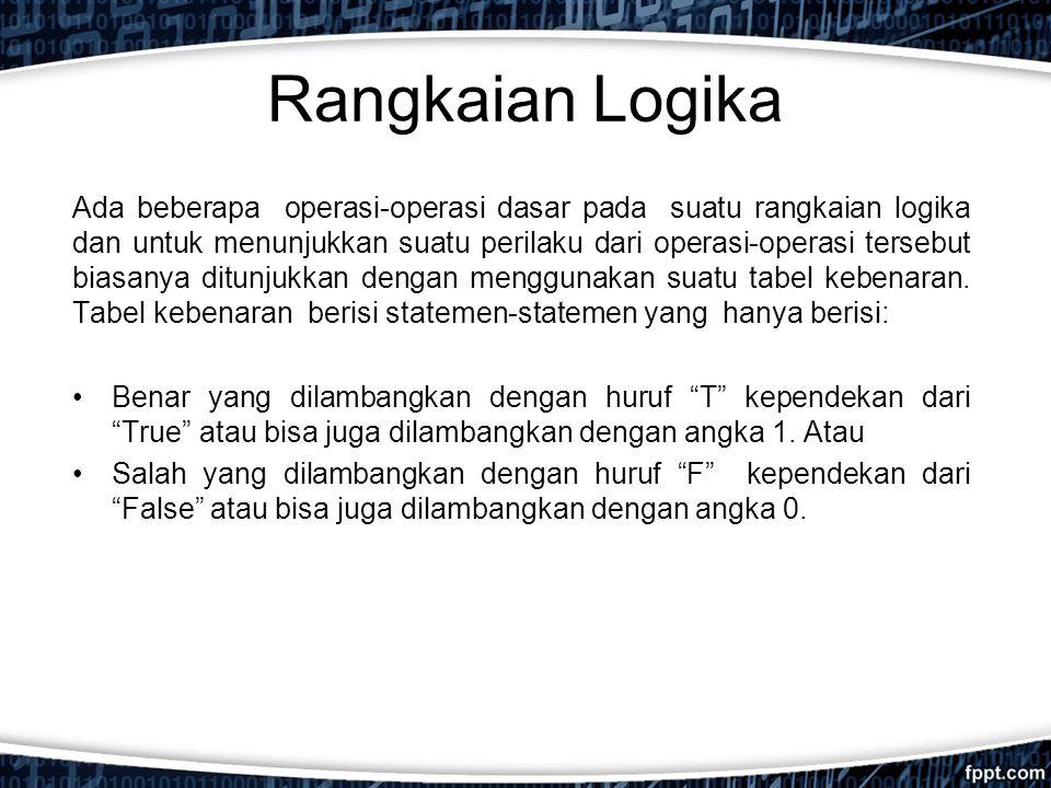 Apa itu Gerbang Logika Gerbang logika adalah piranti dua keadaan, yaitu mempunyai keluaran dua keadaan: keluaran dengan nol volt yang menyatakan logika 0 (atau rendah) dan keluaran dengan tegangan tetap yang menyatakan logika 1 (atau tinggi).