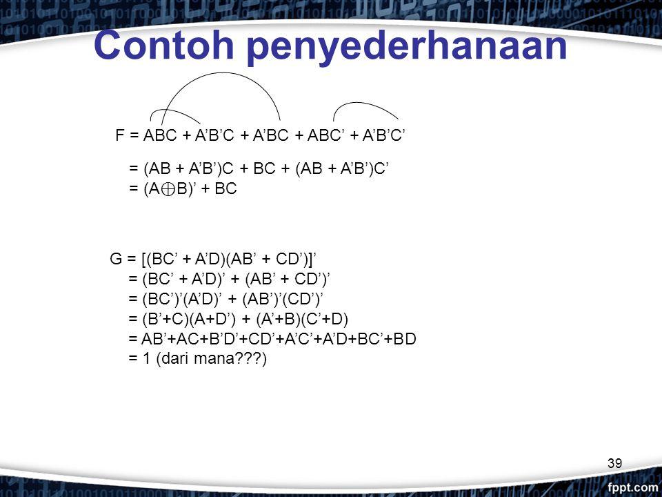 39 Contoh penyederhanaan F = ABC + A'B'C + A'BC + ABC' + A'B'C' G = [(BC' + A'D)(AB' + CD')]' = (BC' + A'D)' + (AB' + CD')' = (BC')'(A'D)' + (AB')'(CD