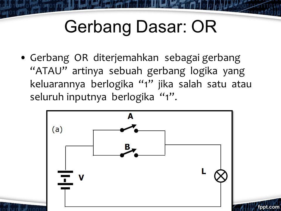 """Gerbang Dasar: OR Gerbang OR diterjemahkan sebagai gerbang """"ATAU"""" artinya sebuah gerbang logika yang keluarannya berlogika """"1"""" jika salah satu atau se"""