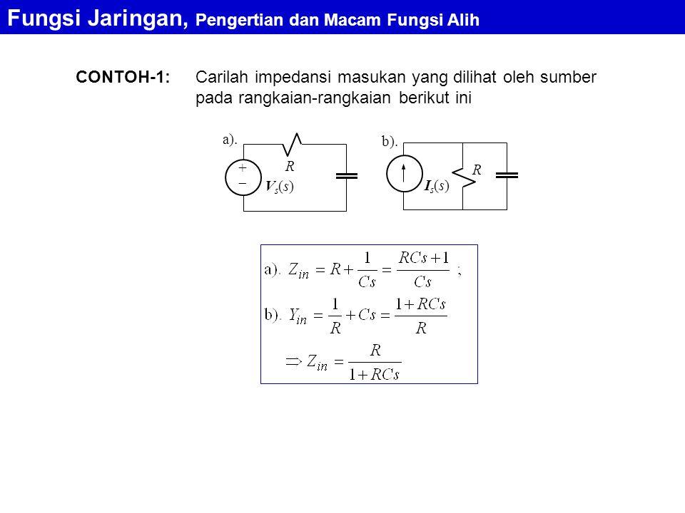 CONTOH-1: Fungsi Jaringan, Pengertian dan Macam Fungsi Alih a). R ++ Vs(s)Vs(s) R Is(s)Is(s) b). Carilah impedansi masukan yang dilihat oleh sumber