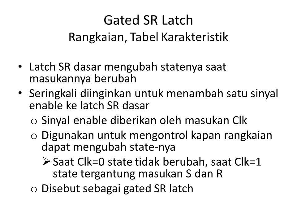 Gated SR Latch Rangkaian, Tabel Karakteristik Latch SR dasar mengubah statenya saat masukannya berubah Seringkali diinginkan untuk menambah satu sinya