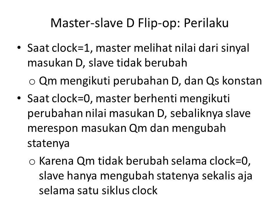Master-slave D Flip-op: Perilaku Saat clock=1, master melihat nilai dari sinyal masukan D, slave tidak berubah o Qm mengikuti perubahan D, dan Qs kons