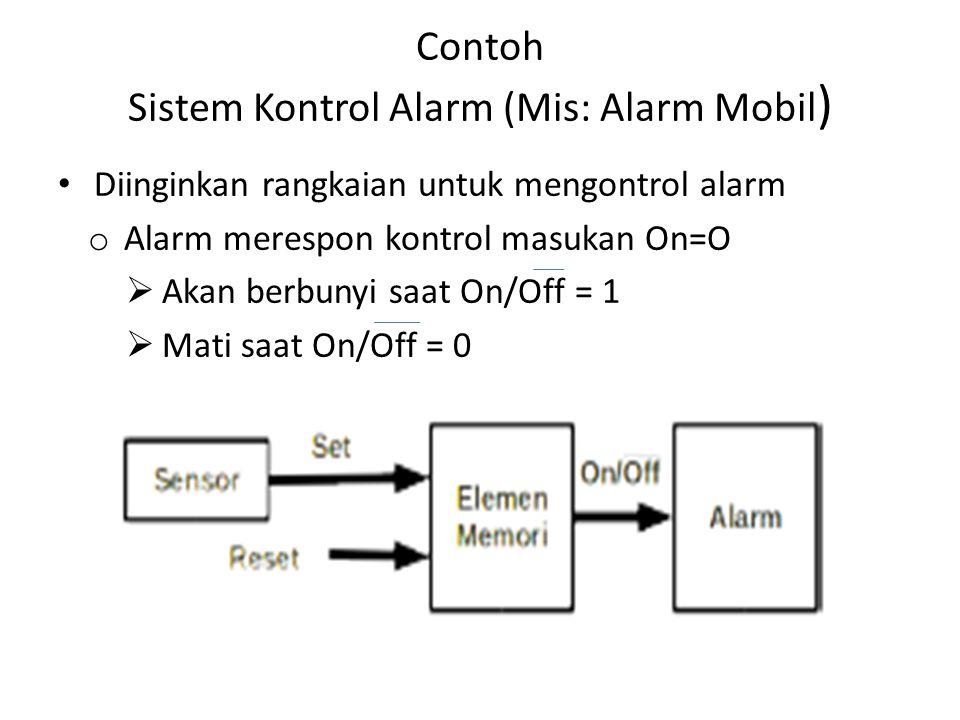 Contoh Sistem Kontrol Alarm (Mis: Alarm Mobil ) Diinginkan rangkaian untuk mengontrol alarm o Alarm merespon kontrol masukan On=O  Akan berbunyi saat