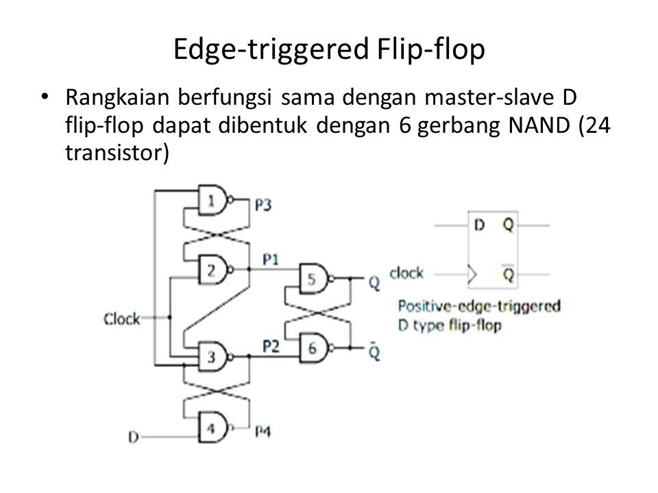 Edge-triggered Flip-flop Rangkaian berfungsi sama dengan master-slave D flip-flop dapat dibentuk dengan 6 gerbang NAND (24 transistor)