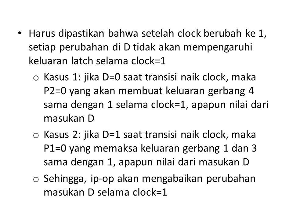 Harus dipastikan bahwa setelah clock berubah ke 1, setiap perubahan di D tidak akan mempengaruhi keluaran latch selama clock=1 o Kasus 1: jika D=0 saa