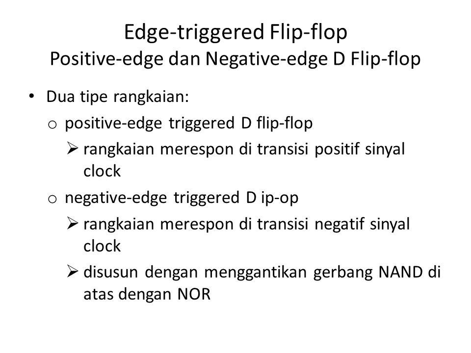 Edge-triggered Flip-flop Positive-edge dan Negative-edge D Flip-flop Dua tipe rangkaian: o positive-edge triggered D flip-flop  rangkaian merespon di