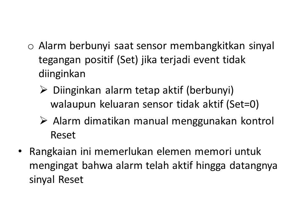 o Alarm berbunyi saat sensor membangkitkan sinyal tegangan positif (Set) jika terjadi event tidak diinginkan  Diinginkan alarm tetap aktif (berbunyi)