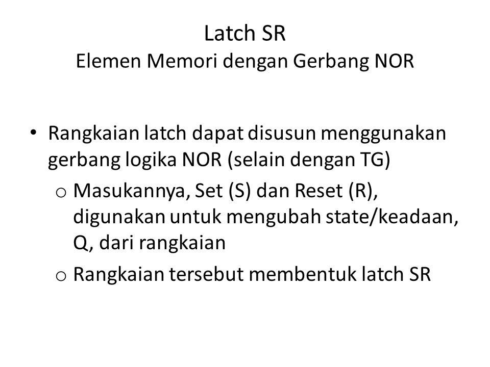 Latch SR Elemen Memori dengan Gerbang NOR Rangkaian latch dapat disusun menggunakan gerbang logika NOR (selain dengan TG) o Masukannya, Set (S) dan Re