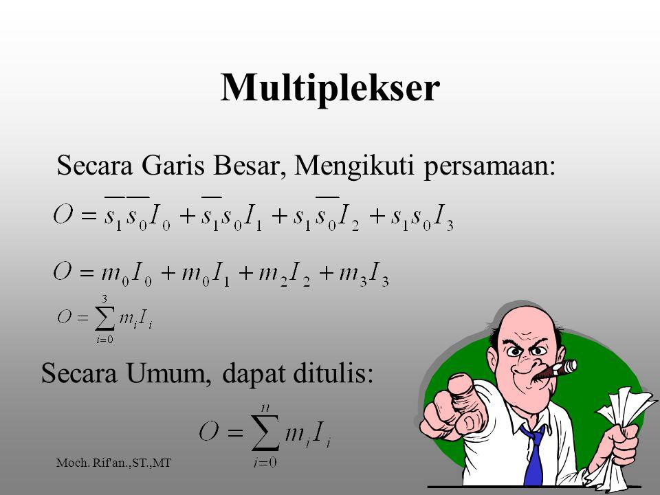 Multiplekser Secara Garis Besar, Mengikuti persamaan: Secara Umum, dapat ditulis: