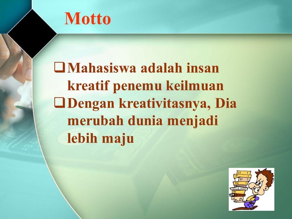 Motto  Mahasiswa adalah insan kreatif penemu keilmuan  Dengan kreativitasnya, Dia merubah dunia menjadi lebih maju