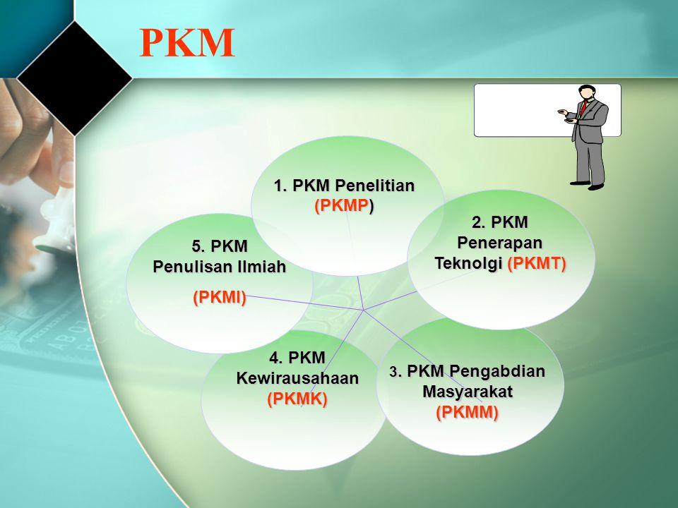 PKM 1. PKM Penelitian (PKMP) 5. PKM Penulisan Ilmiah (PKMI) 4. PKM Kewirausahaan (PKMK) 3. PKM Pengabdian Masyarakat (PKMM) 2. PKM Penerapan Teknolgi