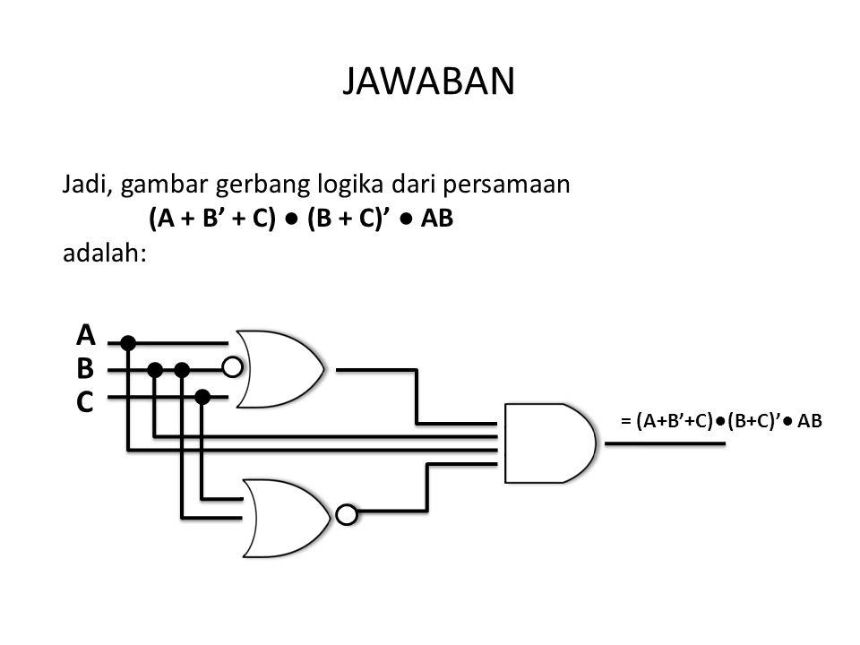 JAWABAN Jadi, gambar gerbang logika dari persamaan (A + B' + C) ● (B + C)' ● AB adalah: = (A+B'+C)●(B+C)'● AB B C A