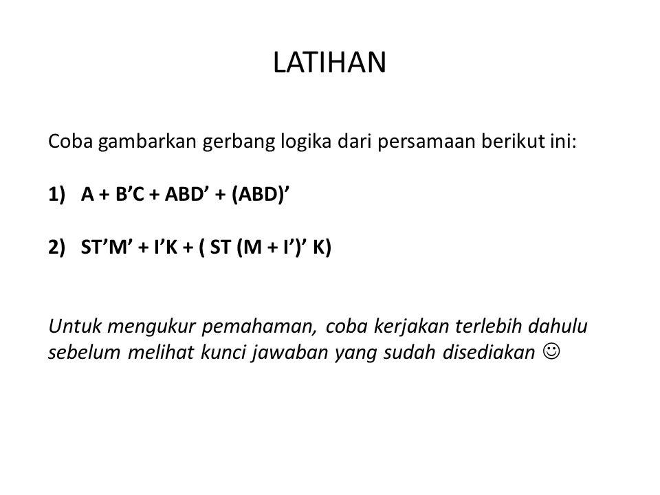 LATIHAN Coba gambarkan gerbang logika dari persamaan berikut ini: 1)A + B'C + ABD' + (ABD)' 2)ST'M' + I'K + ( ST (M + I')' K) Untuk mengukur pemahaman, coba kerjakan terlebih dahulu sebelum melihat kunci jawaban yang sudah disediakan